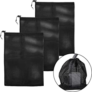 changsha 3 Pack Large Pump Barrier Bag Netting with Drawstring Pond Mesh Pump Filter Bag for Pond biofilters Aquarium Filtration and Outdoor Swimming Pool Pumps
