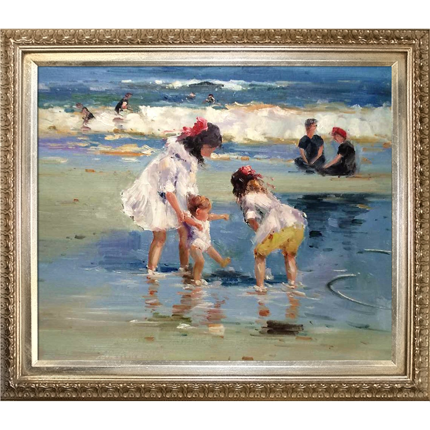 overstockArt Potthast Children Playing at the Seashore with Elegant Wood Frame Oil Painting, Champagne Finish