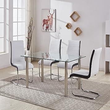 Muebles de comedor GIZZA. Moderno juego de mesa de cristal templado negro y 4 patas cromadas, sillas en negro y blanco., 4 White Chairs + Clear Table: ...