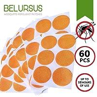 Parche Repelente de Mosquitos Belursus/ 3cm 60 Unidades Resellables / Plantas Naturales de Aceites Esenciales Japonesas de Calidad Superior / Repelente de Mosquitos 100% Natural / 24 Horas de Protección / Tan Solo Hay que Aplicar a la Piel y Ropas