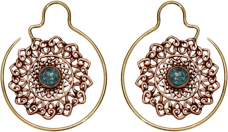 81stgeneration Pendientes de Aro Piedra Preciosa Turquesa Mandala Filigrana Mujer Latón Dorado Cobre