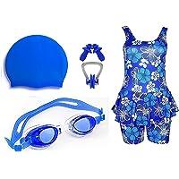 Golden Girl Swimming Kit for Girls (Blue_8-9 Years)