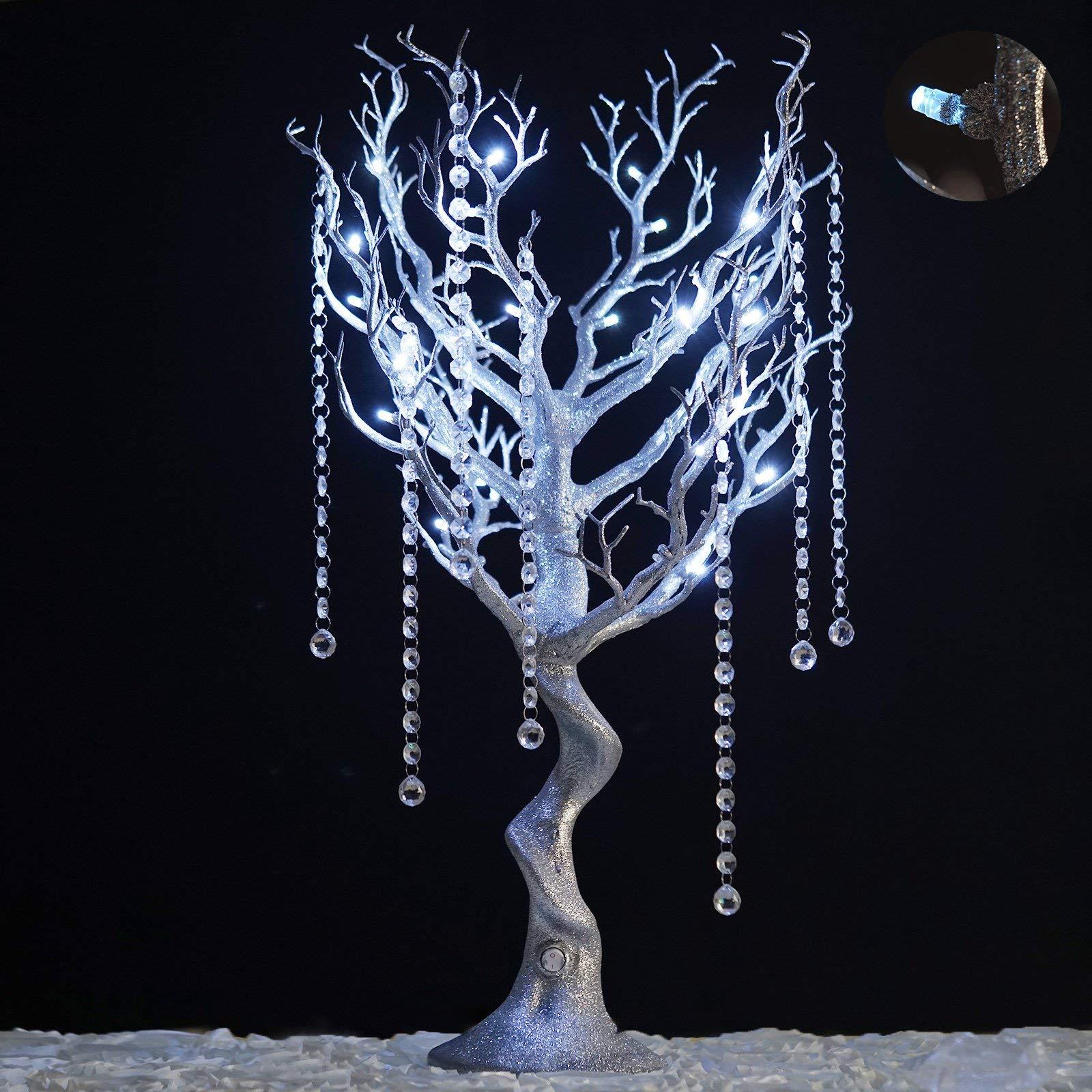 Efavormart 30'' Tall Glitter Silver Manzanita Tree Centerpiece for Wedding Centerpiece Table Top Decoration W/LED Lights (Battery)