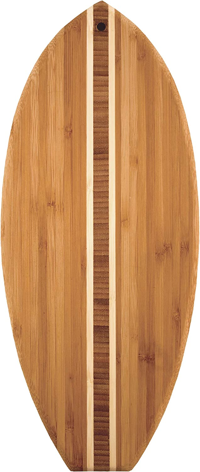 """Totally Bamboo Lil' Surfer Surfboard Shaped Bamboo Serving and Cutting Board, 14-1/2"""" x 6"""""""