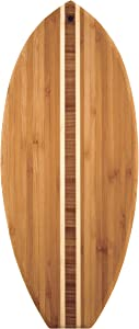 "Totally Bamboo Lil' Surfer Surfboard Shaped Bamboo Serving and Cutting Board, 14-1/2"" x 6"""