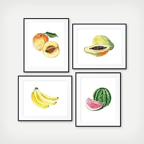 Kitchen Fruit Wall Decor, Watercolor Fruit Kitchen Decor   Set Of 4 Prints