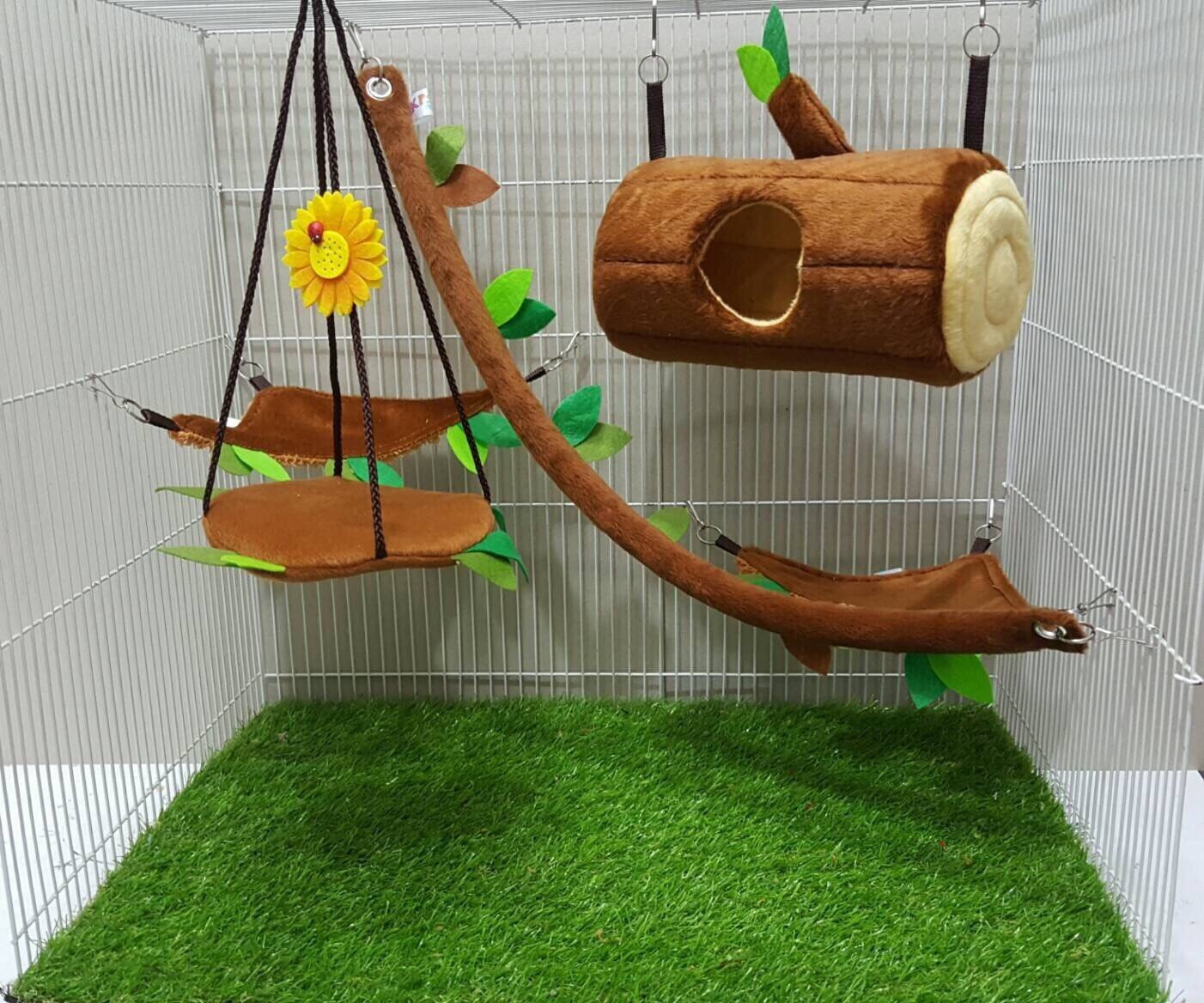 Brown Sugar Pet Store 5 piece Sugar Glider Cage Set Timber Pattern Light Brown Color