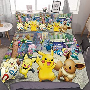 3D Pinted Lovely Soft/Breathable Bedding Sets,Pikachu Pichu Eevee Togepi Anime,Anime Cartoon Duvet Cover Set,Twin