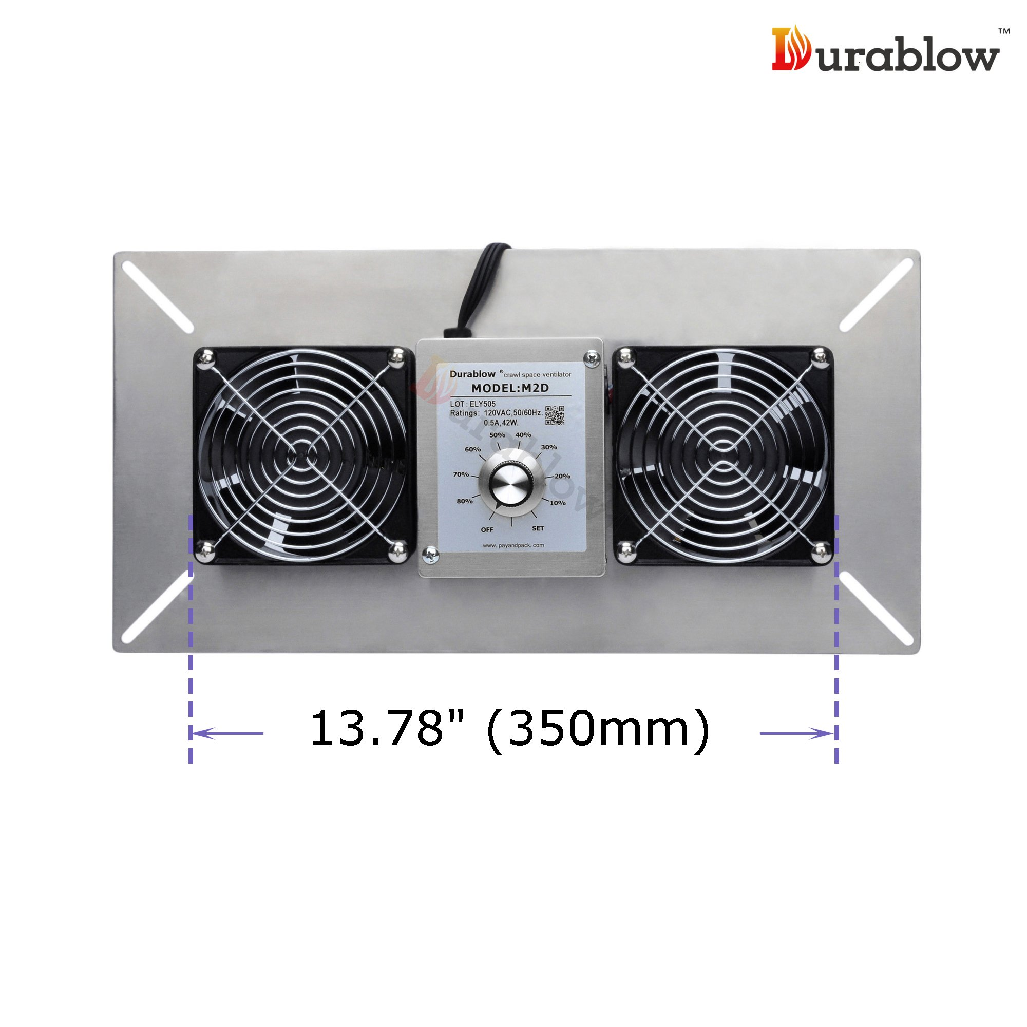 Durablow Stainless Steel Crawl Space Foundation Dual Fans Ventilator + Built-in Dehumidistat (Stainless Steel 304, M2D) by Durablow (Image #3)