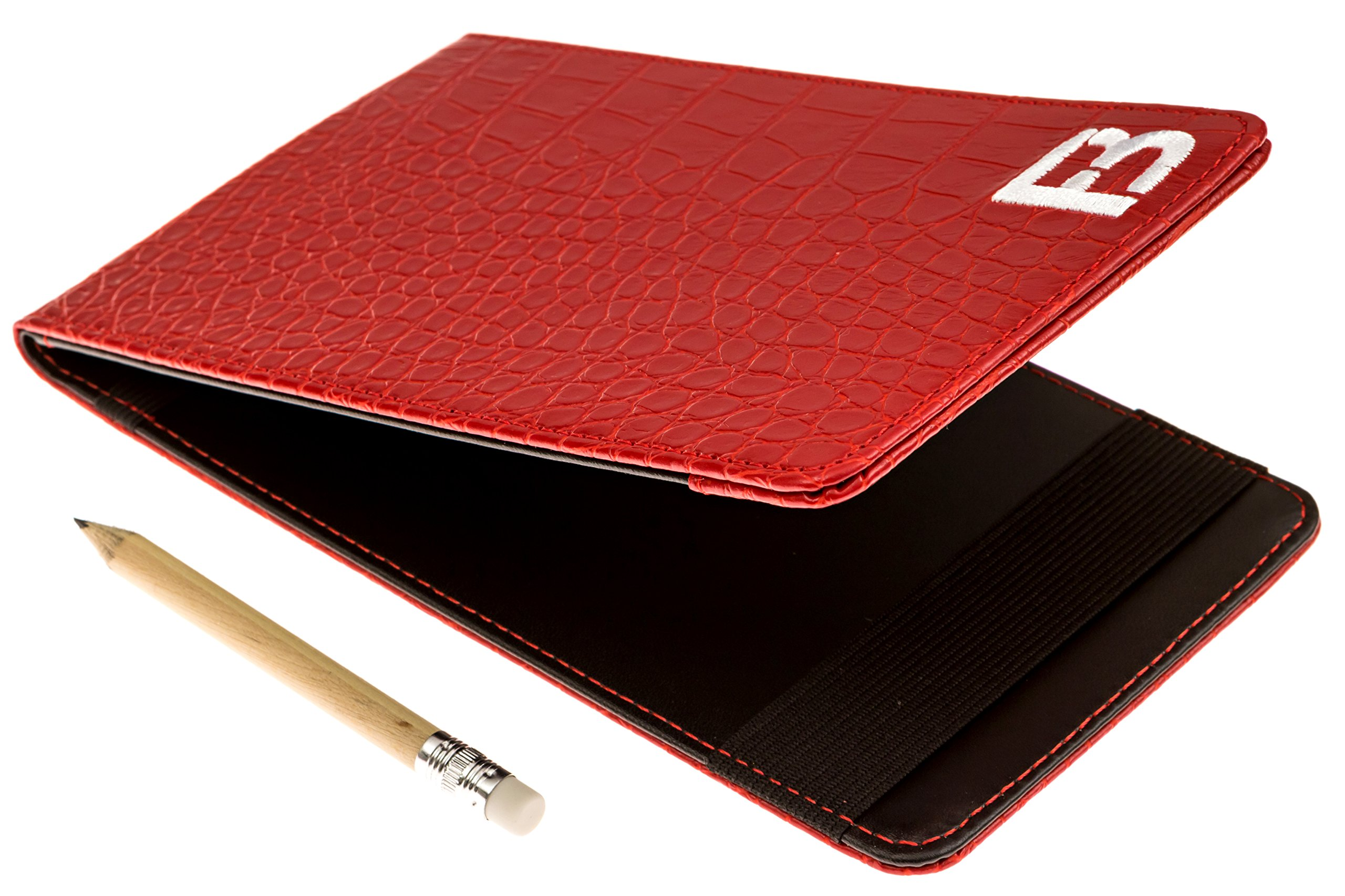 Fuzzy Bunkers Golf Scorecard Holder and Yardage Book Cover PLUS Free Golf Pencil and Downloadable PDF Stat Tracker Sheet by (Red) by VEBE (Image #1)