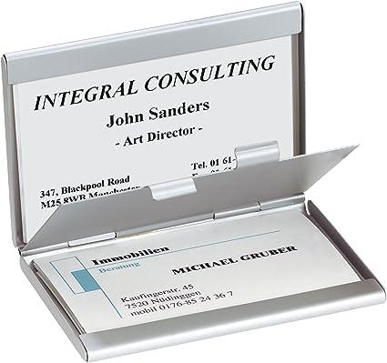 SIGEL VZ136 Tarjetero / Estuche para tarjetas de visita Twin, aluminio con 2 compartimentos: Amazon.es: Oficina y papelería