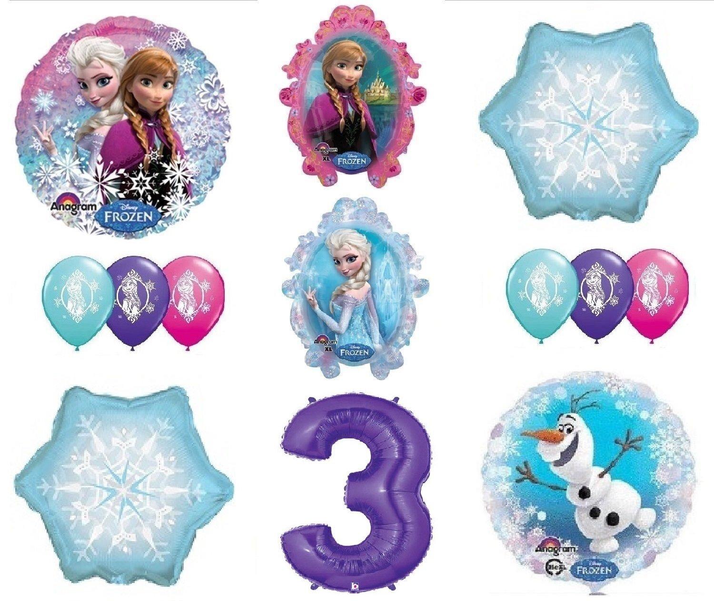 LoonBalloon FROZEN Anna ELSA OLAF Snowman Snowflake 3rd 3 12 Birthday Party Balloons Set O by LoonBalloon