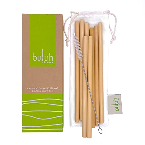 BULUH STRAWS - ORGANIC BAMBOO DRINKING STRAWS | REUSABLE | ECO FRIENDLY |  BPA-FREE BIODEGRADABLE NATURAL ALTERNATIVE TO PLASTIC, GLASS AND STAINLESS