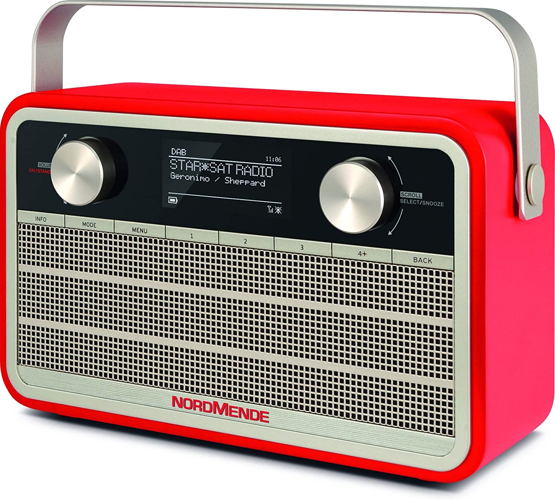 Nordmende Transita 120 Ir Portable Internet Radio Dab Radio Fm Wifi 24 Hours Battery Alarm Clock Sleep Timer Headphone Jack 5 Watt Mono Speaker Red Home Cinema Tv Video