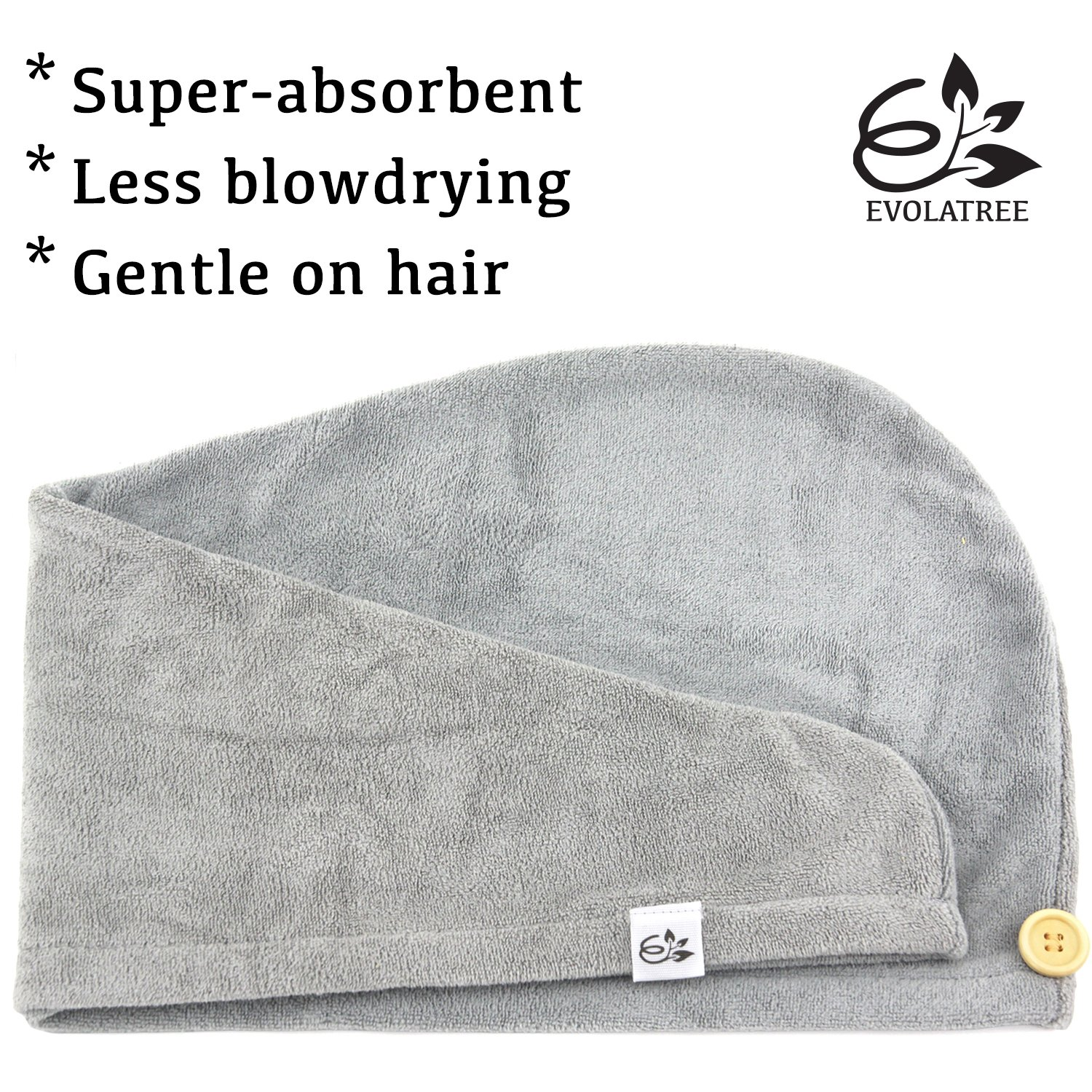 Evolatree Microfiber Hair Towel Wrap - Quick Magic Hair Dry Hat - Anti Frizz Products For Curly Hair Drying Towels - Neutral Gray by Evolatree (Image #6)