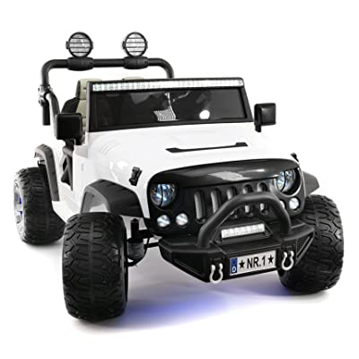 Explorer 2 (Two) Seater 12V Power Kids Ride-On Car Truck with R/C Parental Remote + EVA Rubber LED Wheels + Leather Seat + MP3 Music Player Bluetooth FM Radio + LED Lights (White): Toys & Games