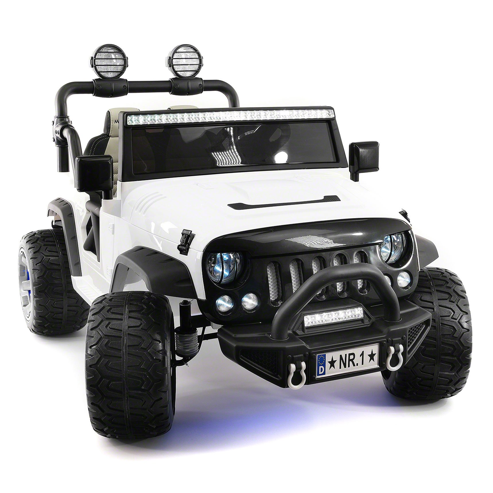 Explorer 2 (Two) Seater 12V Power Kids Ride-On Car Truck with R/C Parental Remote + EVA Rubber LED Wheels + Leather Seat + MP3 Music Player Bluetooth FM Radio + LED Lights (White) by Moderno Kids