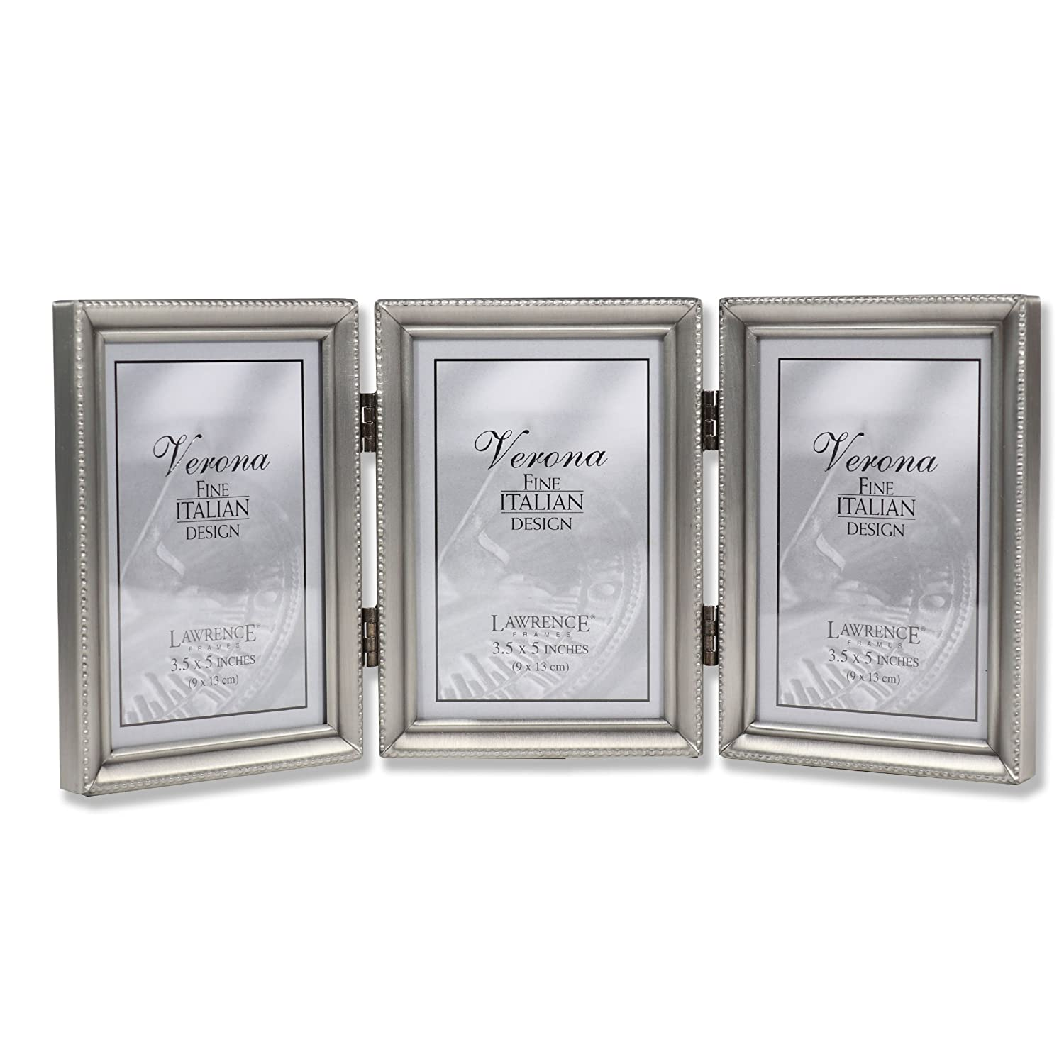Amazon.com - Lawrence Frames Antique Pewter Hinged Triple 3x5 ...