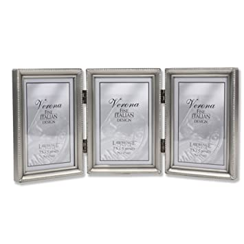 Amazoncom Lawrence Frames Antique Pewter Hinged Triple 3x5
