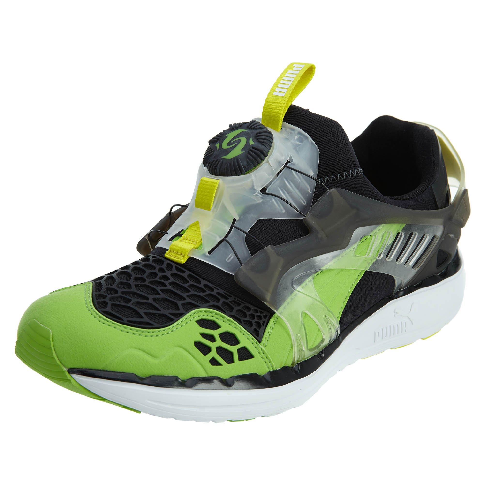 PUMA Future Disc Blaze Lite Web Fashion Sneaker,Black/Jasmine Green/Fluorescent Yellow,12 D US