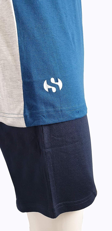 Pantalone in Tinta Unita Pigiama Superga per Uomo in Puro Cotone Maglia con Scollo Tondo e Bottoncini Mezze Maniche