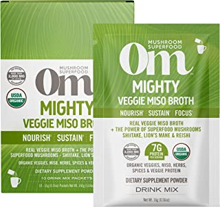 product image for Om Organic Mushroom Nutrition Superfood Protein Drink Mix, Mighty Veggie Miso Broth, 5.29 Ounce (10 Packets), Shiitake, Lions Mane, Reishi, Nourish & Immune Supplement, Vegan