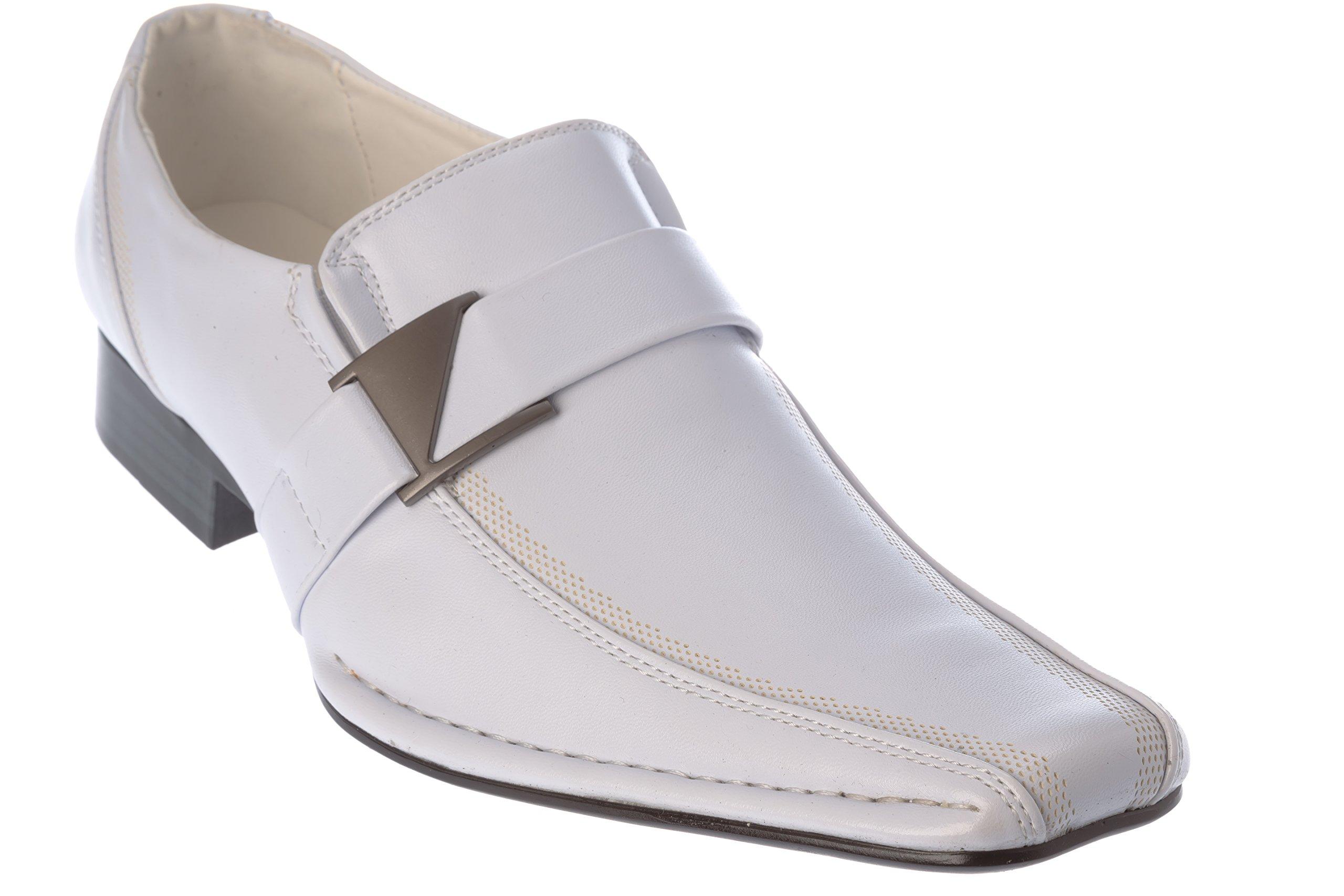 Santoni Mens Slip-On Loafer White Dress-Shoes Size 12