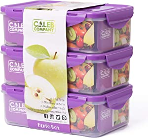 By Caleb Company Purple Bento Boxes For Kids Lunches - 39 Ounce Divided Food Storage Containers With Lids - Leakproof, BPA Free Bento Box for Kids & Adults Is Safe For Dishwasher & Microwave - 3 Pack