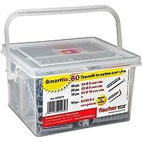 Fischer 531271 Kit Smartfix Box pluggen met schroef met haken voor fantasierijke gebouwhuls en geperforeerd, grijs, set…