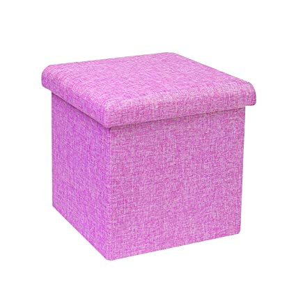 879ff6e2de92 B FSOBEIIALEO Storage Ottoman Cube, Linen Small Coffee Table, Foot Rest  Stool Seat, Folding Toys Chest Collapsible for Kids Purple 11.8