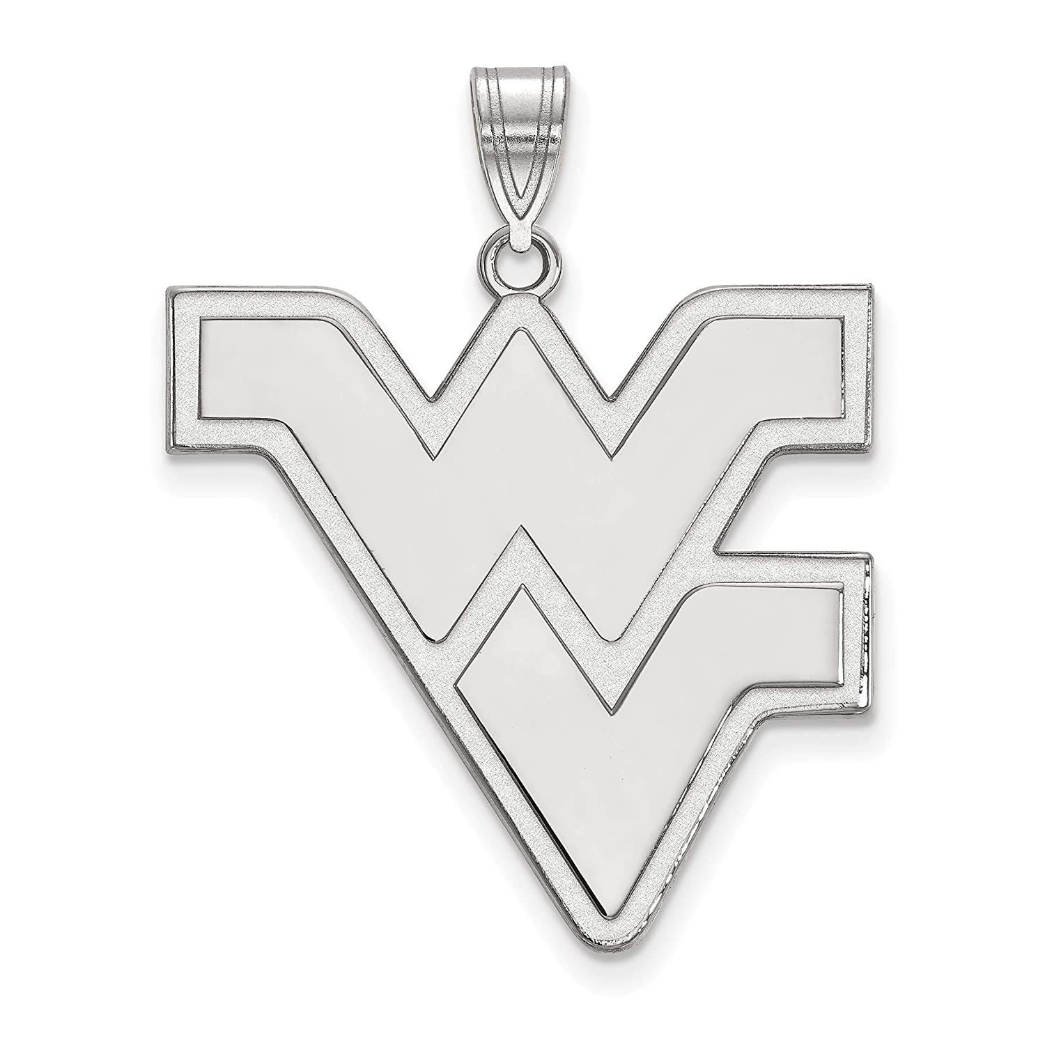 West Virginia Mountaineers School Letters Logo Pendant in Sterling Silver