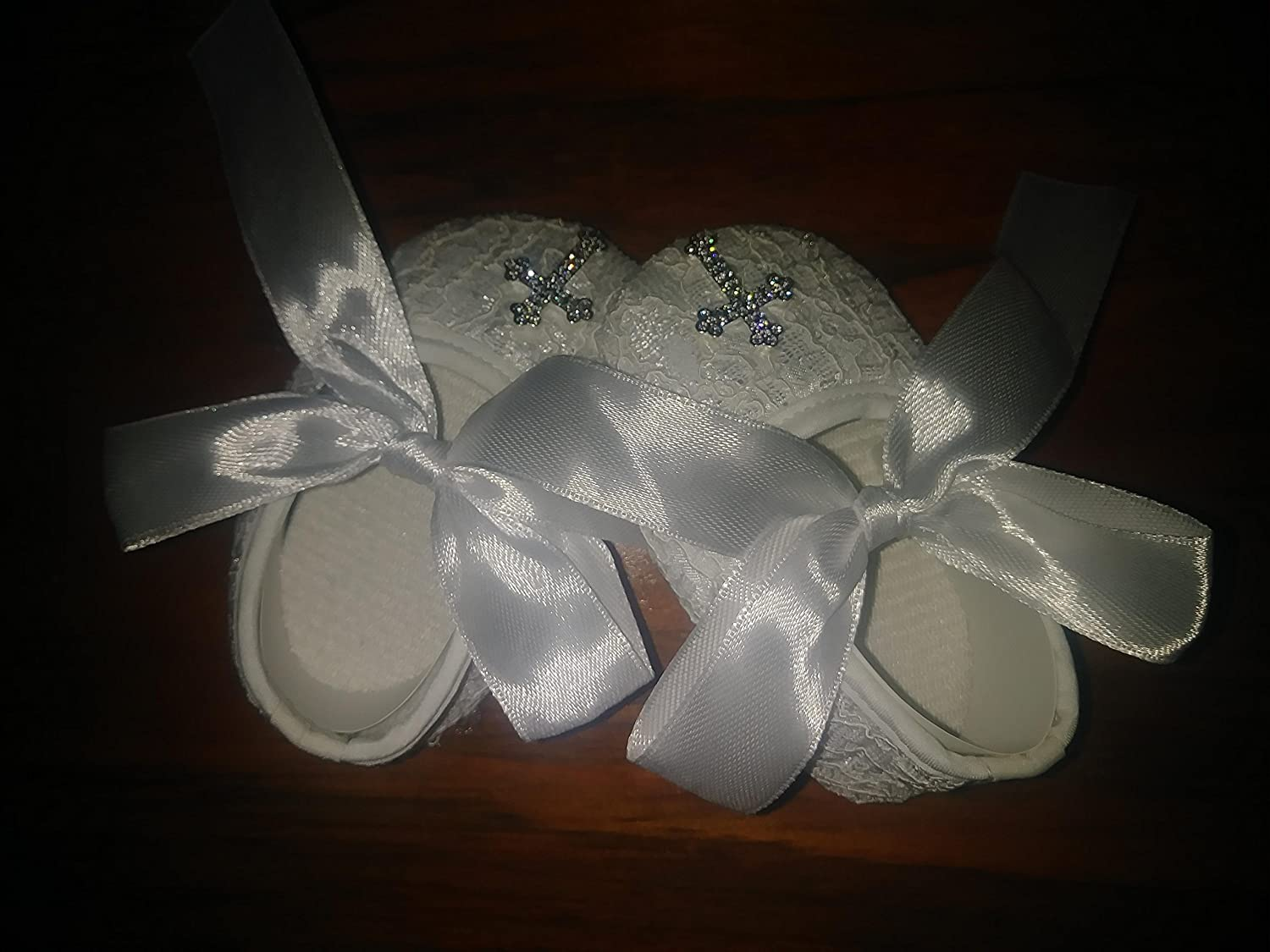 Rivhcell RIVCHELL White Christening Babtism Baby Shoes Newborn Soft Sole Crib Baby Girl 0-12 Months