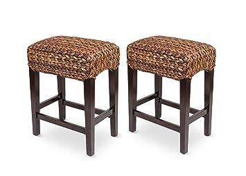 Outstanding Bird Rock Home Seagrass Backless Counter Stool Set Of 2 Handwoven Natural Fibers Fully Assembled Theyellowbook Wood Chair Design Ideas Theyellowbookinfo