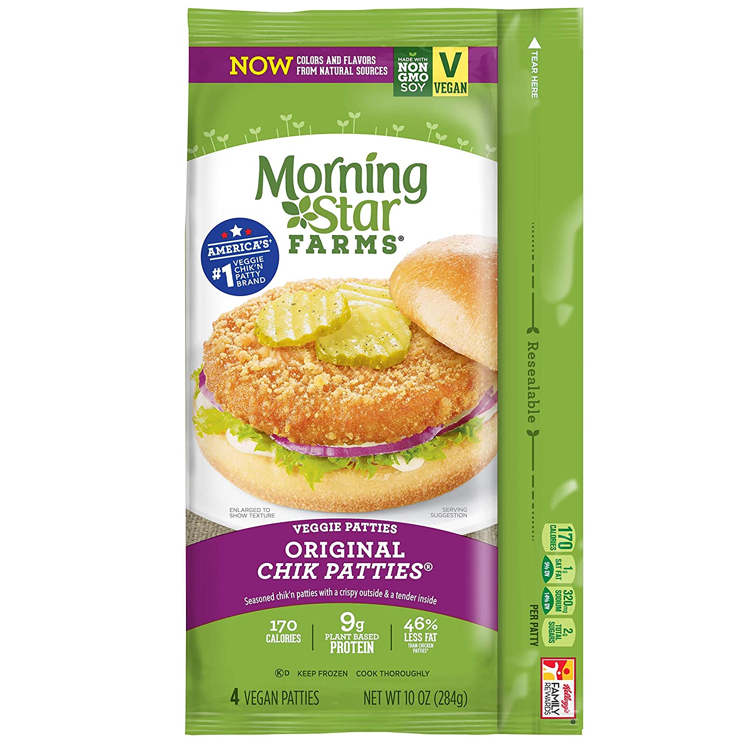 Morningstar Farms, Veggie Burgers, Original Chik Patties, Vegetarian, 10 oz (4 Count)