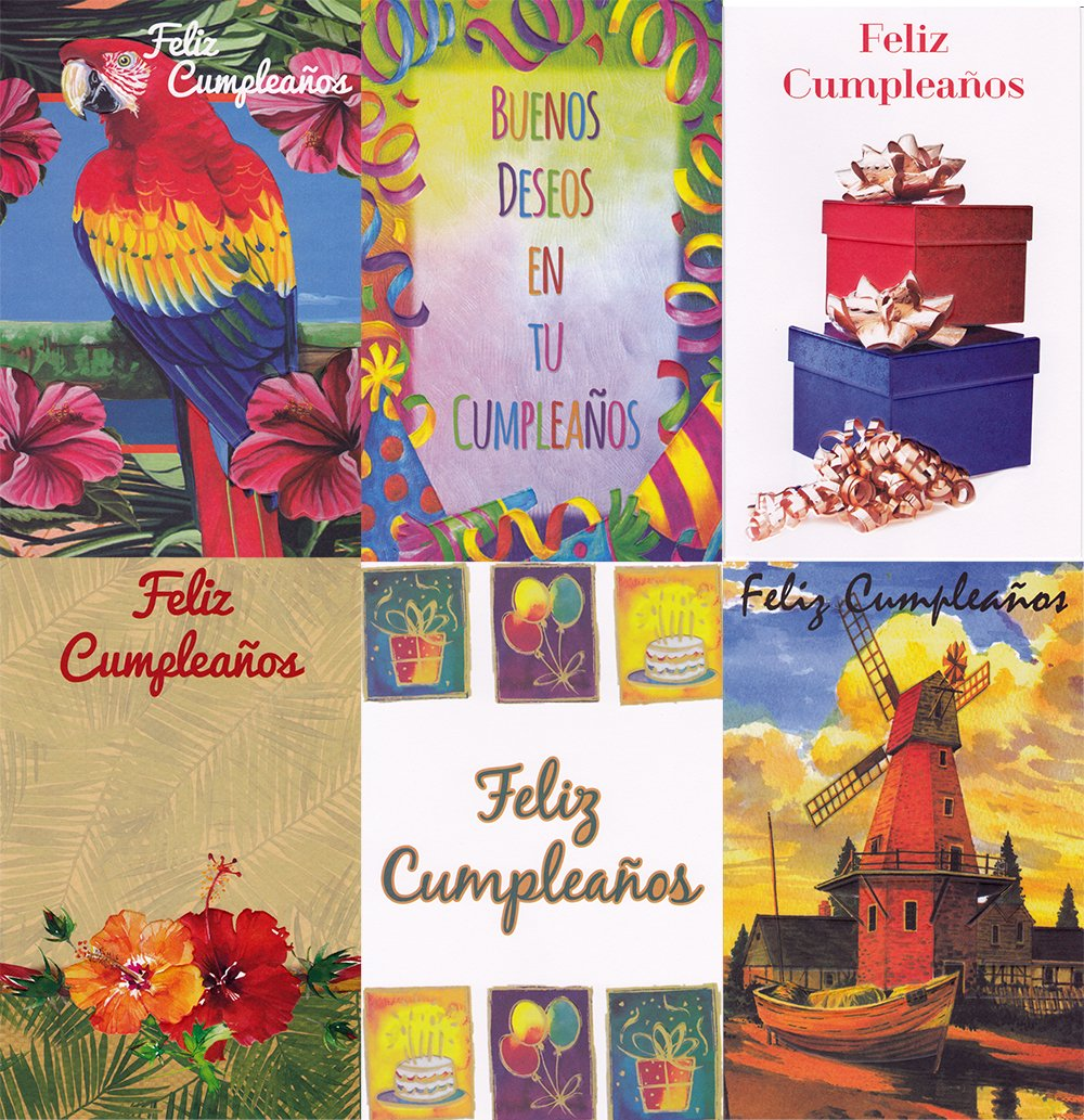 Amazon Assorted Spanish Feliz Cumpleanos Birthday Greeting