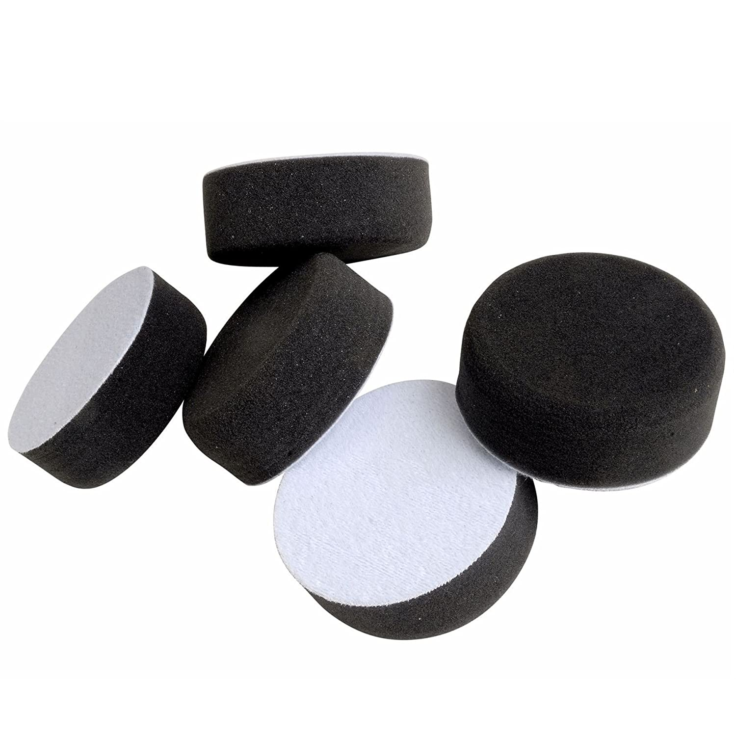 Fast Mover FMT6067 Soft Polishing Foam Pads Round 75mm Hook'N'Loop HookIt Hook and Loop 30mm Thick Pack of 5 Wax/Buffing Electric/Air Polishing Pads