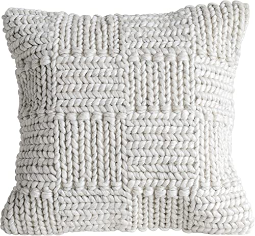 Creative Co-Op Square Wool Knit Pillow in Cream