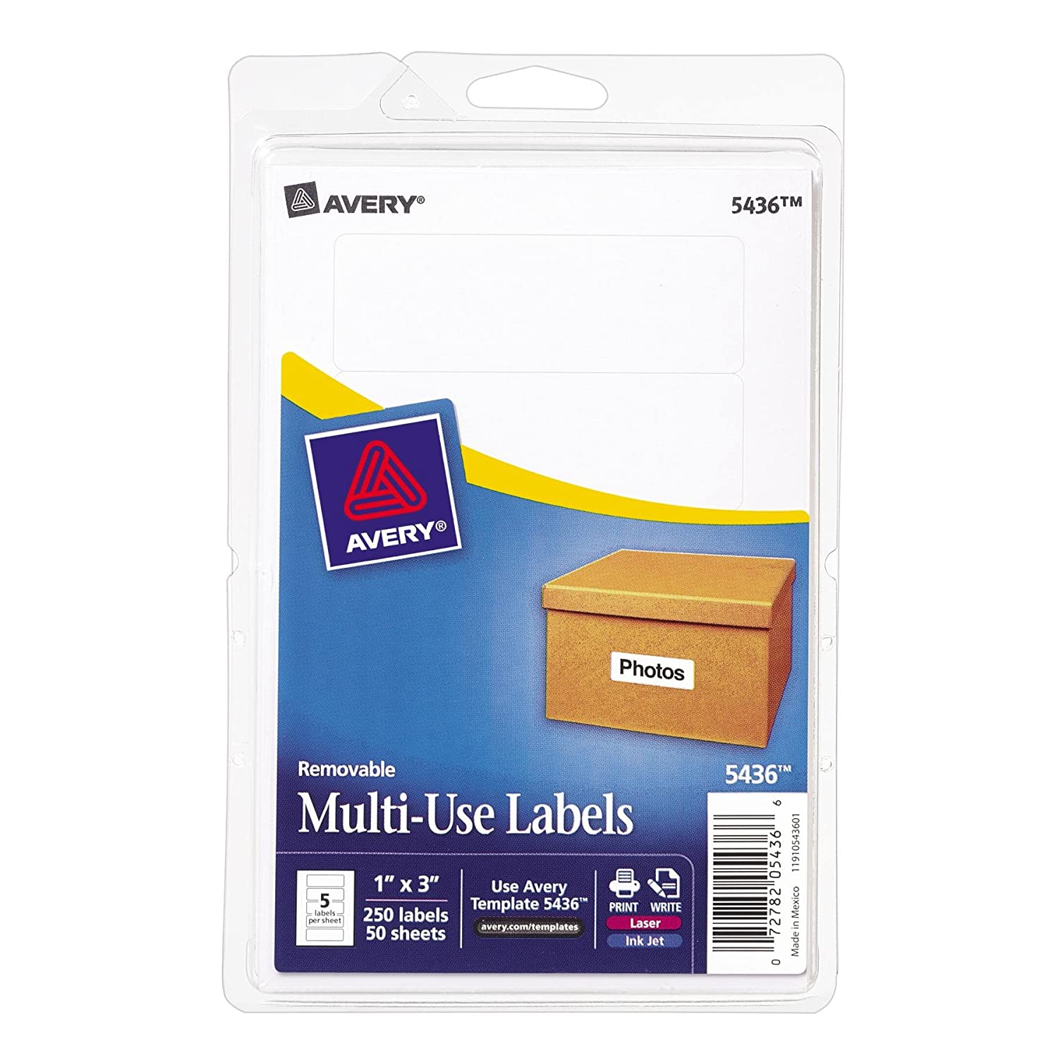 Amazon avery removable printwrite labels 1 x 3 inches amazon avery removable printwrite labels 1 x 3 inches white pack of 250 5436 all purpose labels office products pronofoot35fo Images