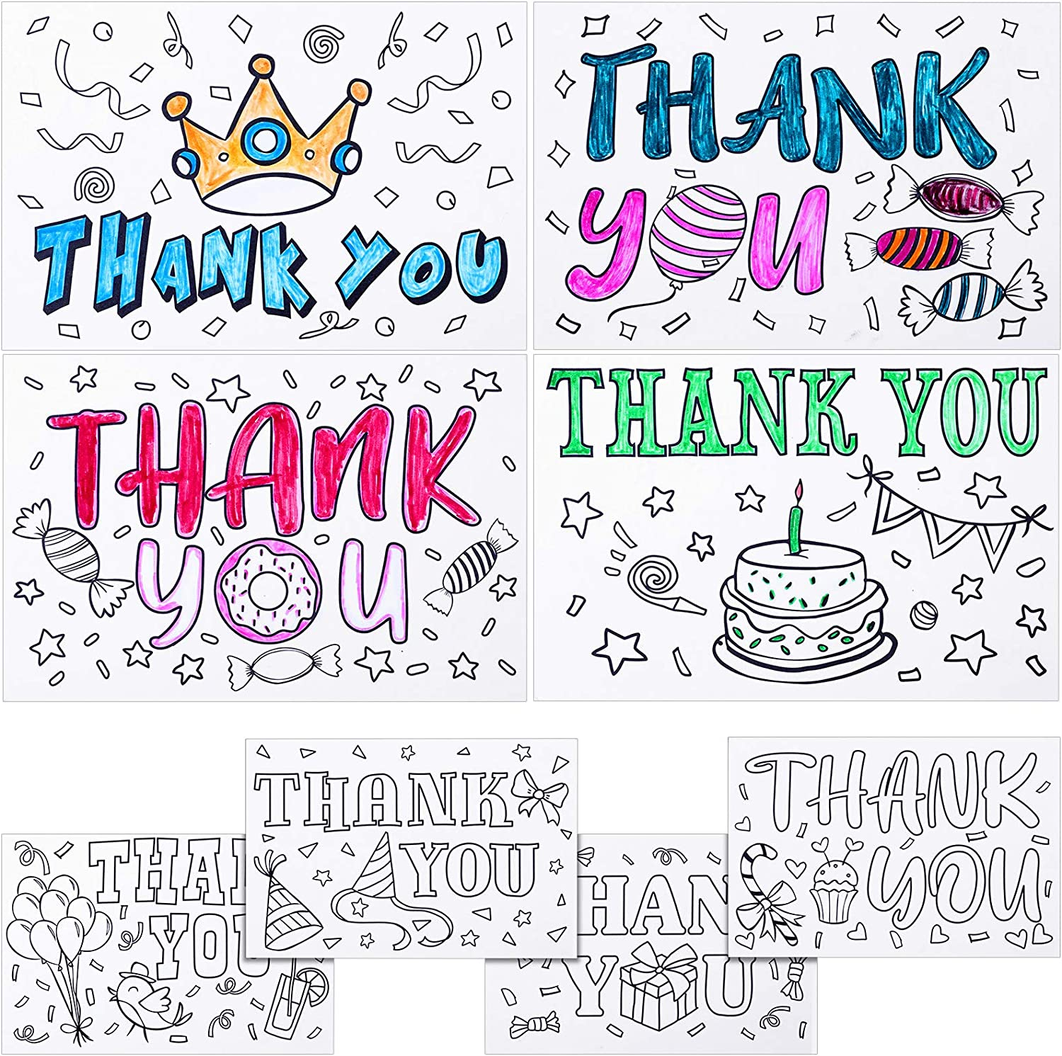 24 Pieces Kid's Coloring Thank You Cards with 24 Pieces Envelopes Set Coloring Thank You Postcards for Fun Birthday and Holiday Expressing Grateful for School and Family