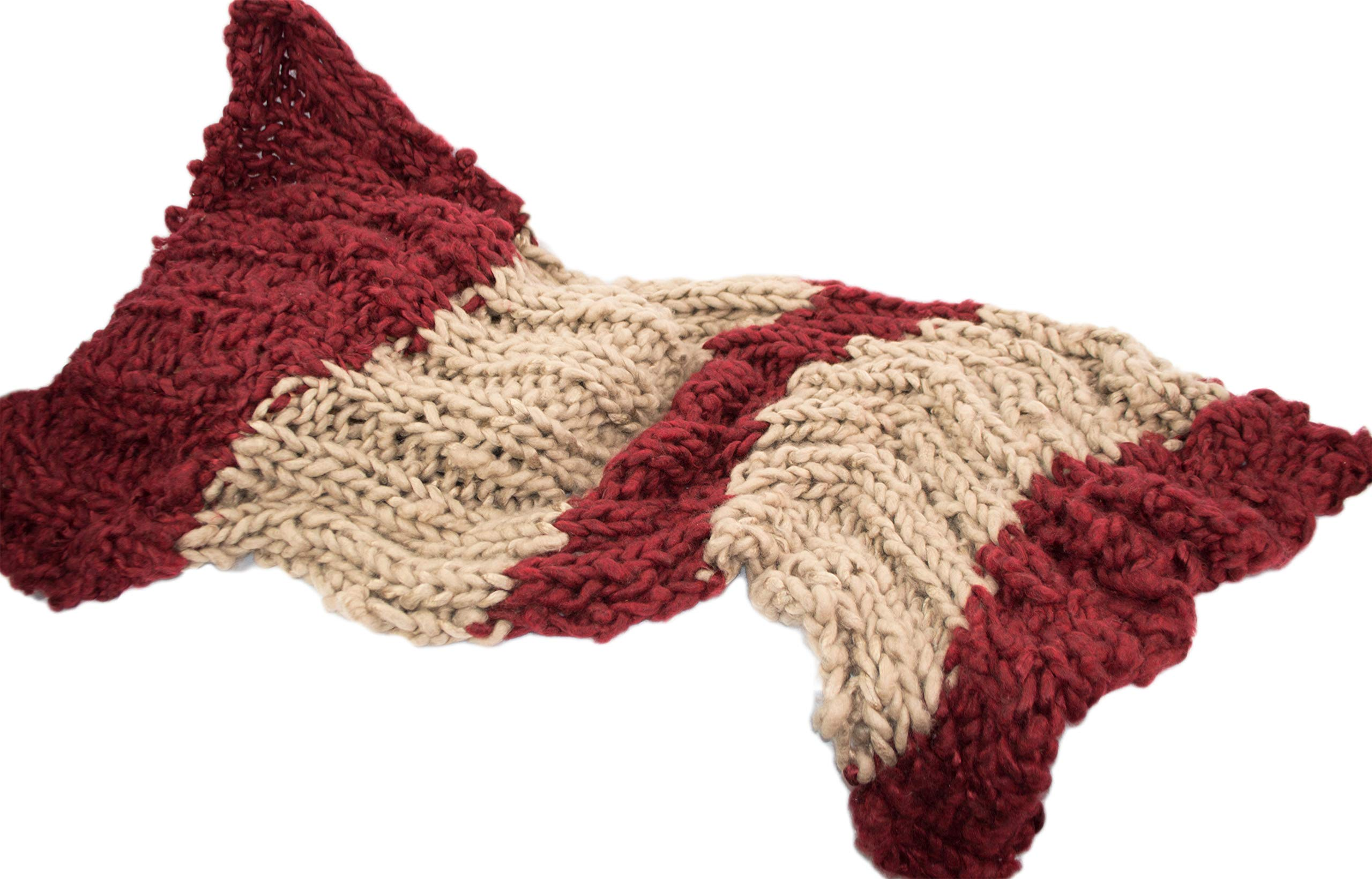 Large Chunky Throw Blanket DIY Knit Kit, Super Soft Thick Yarn w/Large Wood Knitting Needles US 50 Set (Burgundy & Taupe) by Rising Phoenix Industries (Image #2)
