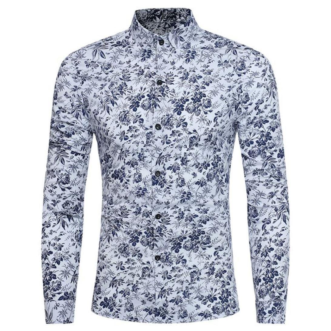 Men's Floral Shirt Retro Stylish Print Long Sleeve Slim Fit Business Shirt Tops Zulmaliu (M, White)