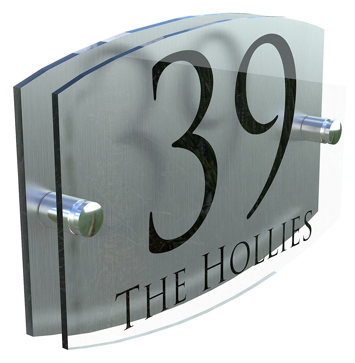Acrylic & Aluminium Modern House Sign door Number | Genuine Perspex! | UV Printed | Full fixtures and fittings | FREE UK POSTAGE - EMA5-28B-S K Smart Sign Ltd