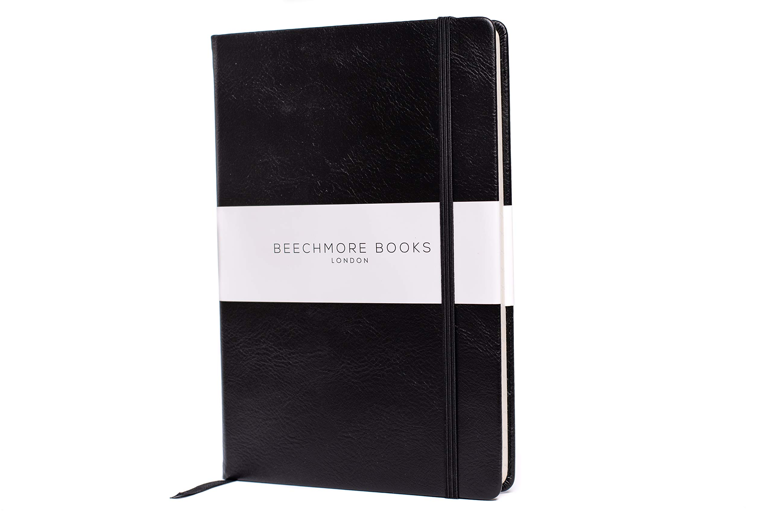 Premium British Notebook/Notepad - Beechmore Books A5 Notebook, 120 gsm cream paper, Vegan Leather, Hardcover Journal in Gift Box (Charcoal Black, Ruled)