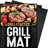 Grill Tactics Grill Mat (Set of 3) - Heavy-Duty Non-Stick BBQ & Grilling Sheet - This Best Rated Grill Pad Works With Gas, Electric, Charcoal Grills, and More - 15.75 x 13 Inch