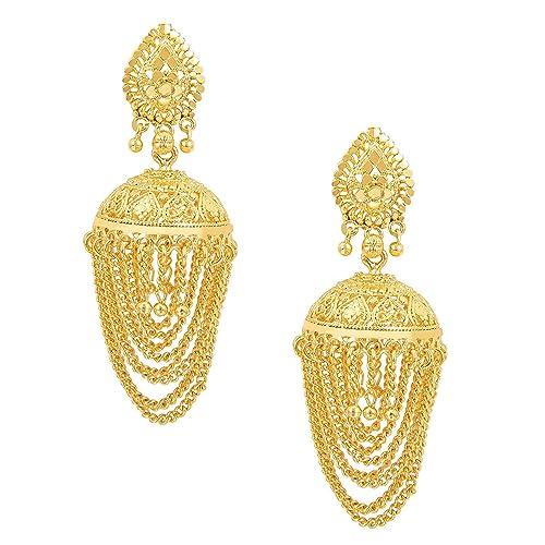 2f1149f3a Amazon.com: Bodha Traditional Gold 18K Designer Jhumka Earrings (SJ_755):  Jewelry