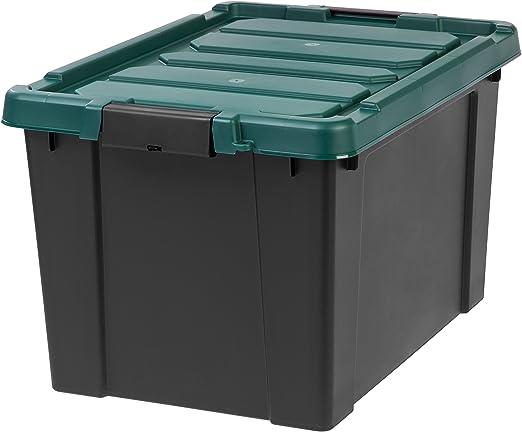 IRIS Store-It-All Tote Storage Bin in Black 169 Qt.
