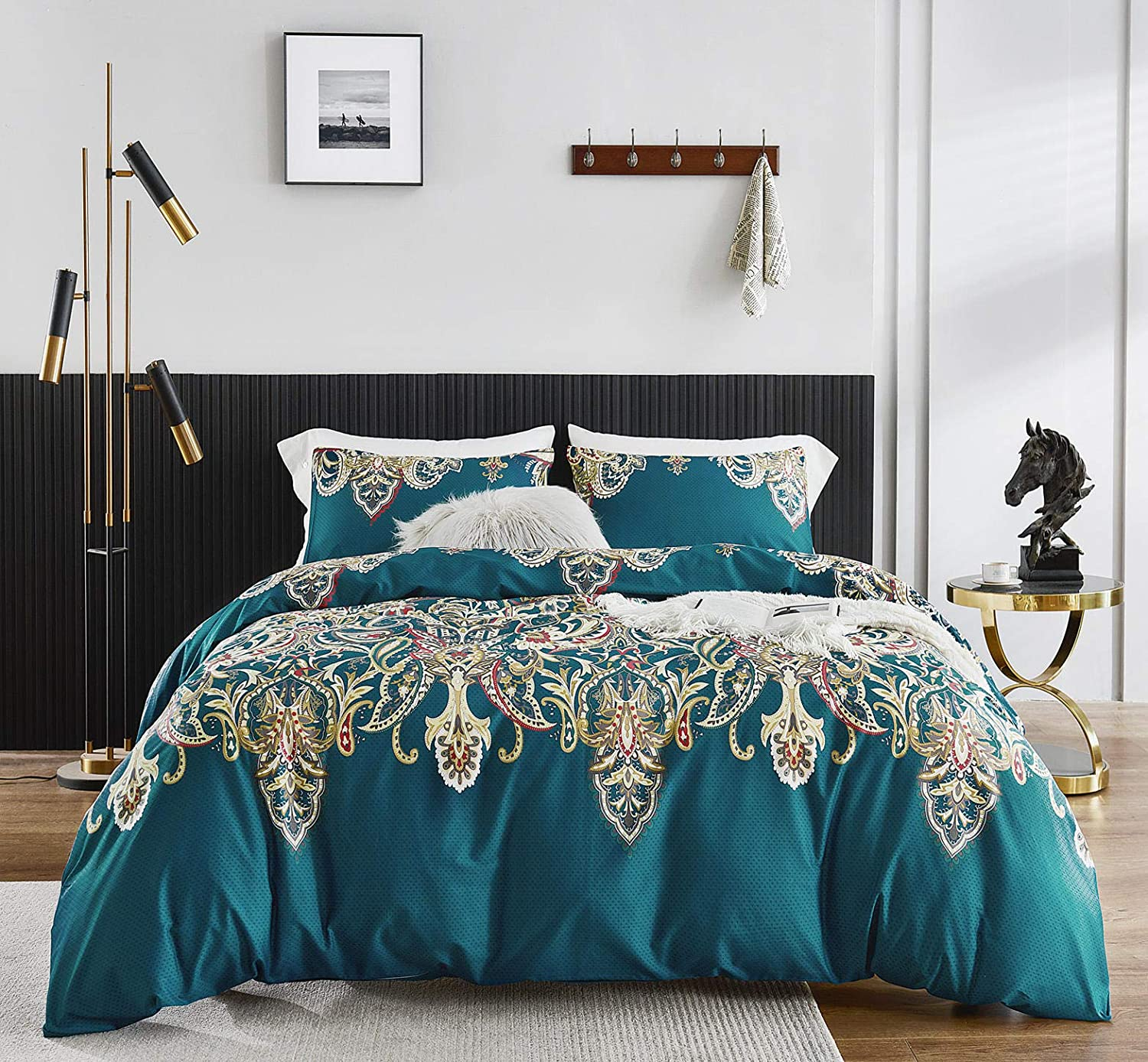 Amazon Com Susybao 3 Piece Duvet Cover Set 100 Egyptian Cotton Queen Size Teal Paisley Bedding Set 1 Bohemian Floral Print Duvet Cover With Zipper Ties 2 Pillowcases Luxury Quality Ultra Soft Breathable