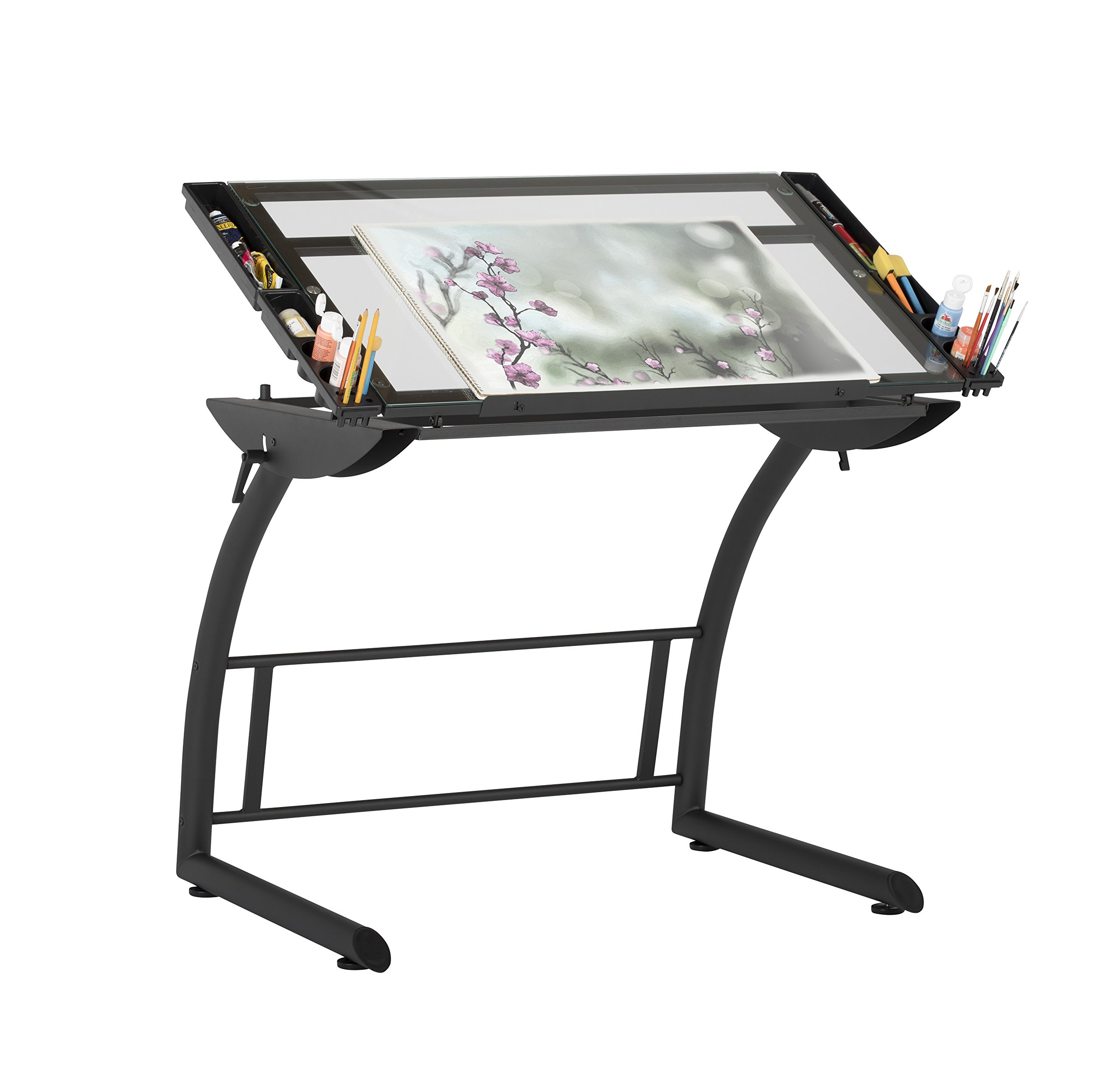 Studio Designs 10088 Triflex Drawing, Sit / Stand Up ADJ Desk, Charcoal/Clear Glass by Studio Designs