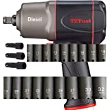 """TZTool 1200 All new Diesel 1/2"""" AIR Impact wrench set w 21 PC Deep impact sockets and Extension"""