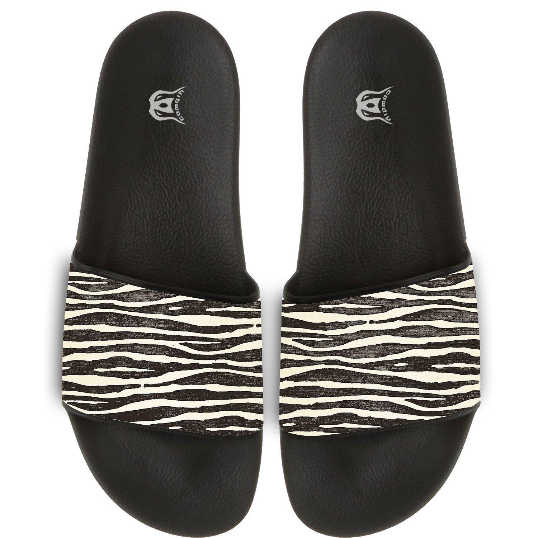 Wave Zebra Pattern Slippers Skid-proof Indoor Outdoor Flat Flip Flops Beach Pool Slide Sandals For Men Women